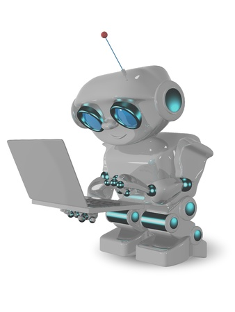 3d illustration robot and laptop on a white background Stock Illustration - 16409351