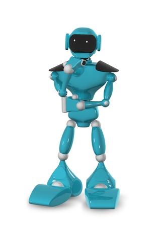 3d illustration of a blue robot on white background Stock Illustration - 16409356