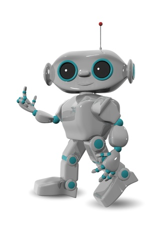 3d illustration of a cheerful robot with antennas Stock Illustration - 16409359