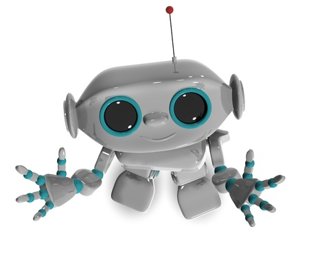 3d illustration of a cheerful robot with antennas Stock Illustration - 16409363