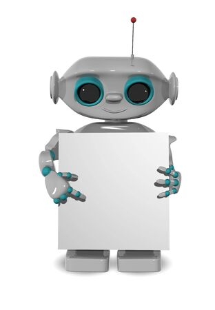 3d illustration of a cheerful robot with a poster Stock Illustration - 16409378
