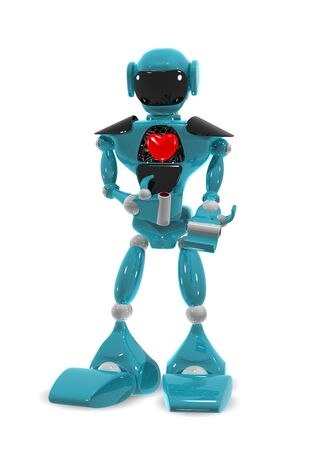 3d illustration of a robot with a heart Stock Illustration - 16482259