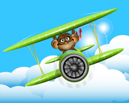 illustration a brown monkey on a plane Vector