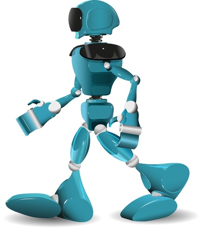 illustration of a blue robot on white background Vector