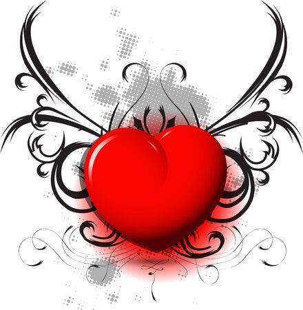 illustration shiny red heart on black pattern Stock Vector - 17119502