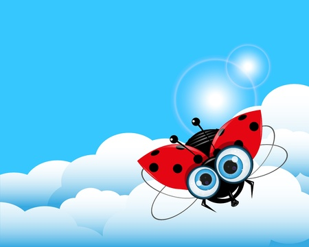 illustration red Ladybug in the blue sky Stock Vector - 17144352