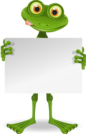 illustration of a cheerful frog with a white paper Vector