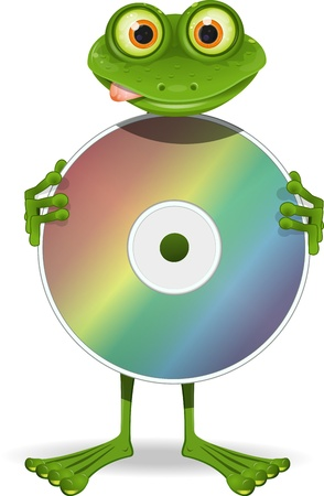 curiosity: illustration DJ curiosity green frog and CD