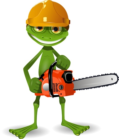 working animals: Green frog in a helmet with a chainsaw