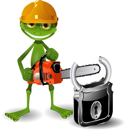 amphibious: Green frog in a helmet with a chainsaw and padlock