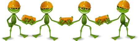 four frogs builder in helmets with bricks Vector