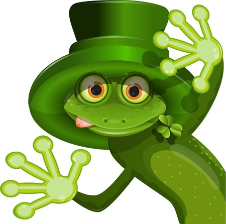 triton: illustration Green frog wearing a hat of Saint Patrick