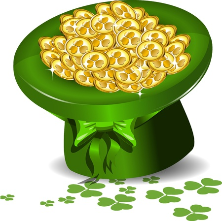 Santa Patrick green hat with gold coins Vector