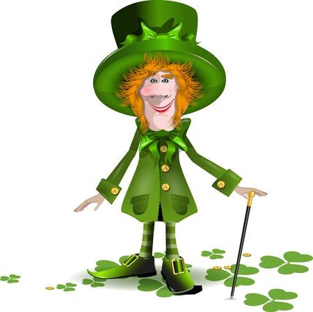 illustration merry saint Patrick in a green cap Stock Vector - 17409960