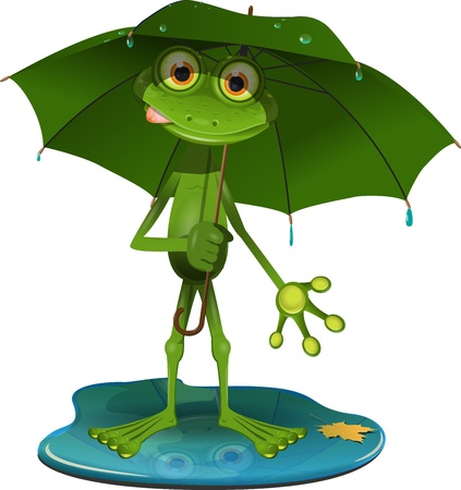 fauna: illustration green frog with a green umbrella
