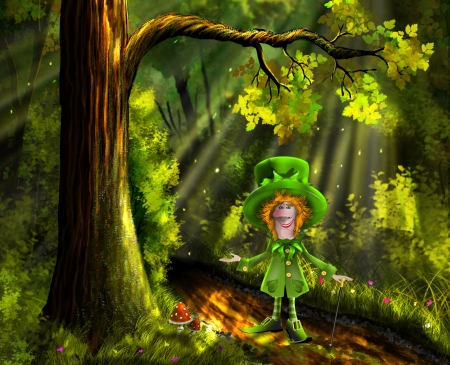 illustration merry green gnome in the forest illustration