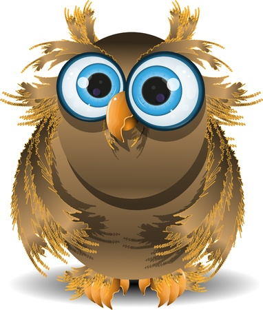illustration goggle-eyed wise owl with blue eyes Vector