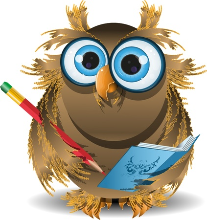 illustration wise owl secretary with blue notebook Stock Vector - 17503614