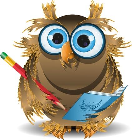 secretaria: ilustración sabio búho secretario con el cuaderno azul