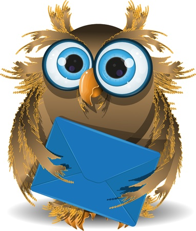 illustration wise owl secretary with blue letter Vector
