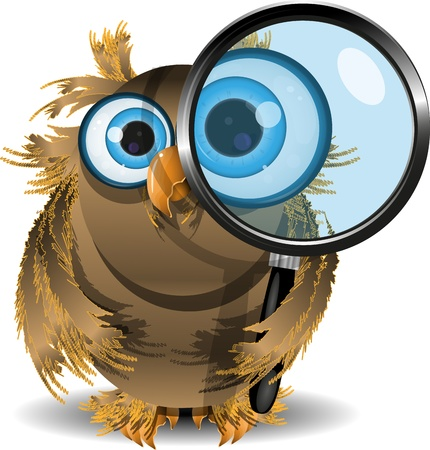 illustration curious owl with a magnifying glass