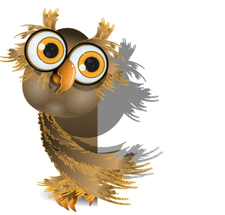 curious owl with big eyes on a white background