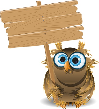 cartoon board: illustration startled owl and a wooden plaque