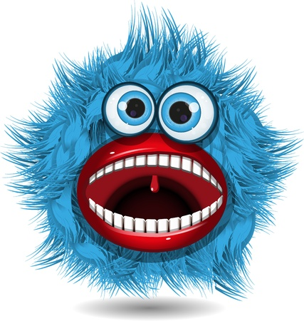 illustration fairy shaggy blue monster with blue eyes Vector