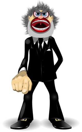 illustration of a very strict manager points a finger Stock Vector - 17587519