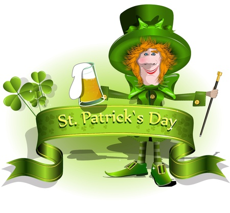 irish beer: illustration green background Santa Patrick Day