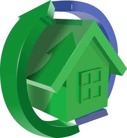 kunststoff rohr: Illustration von gr�nen Haus mit gr�nen und blauen Pfeile