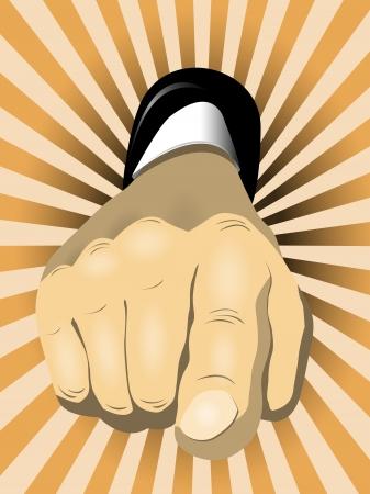 phalanx: illustrazione di una mano con un dito puntato Vettoriali