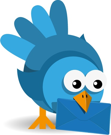 posted: illustration blue bird with a blue envelope