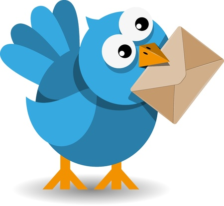 cartoon Birds: illustration of blue bird with a paper envelope