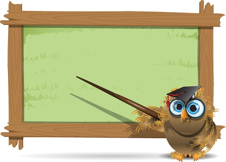 illustration, school board with inscription and owl Vector