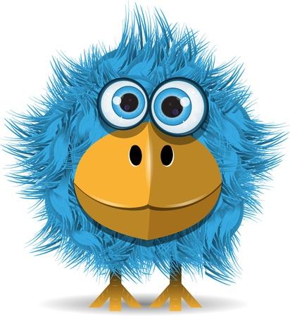 illustratie, grappige blauwe vogel met grote ogen