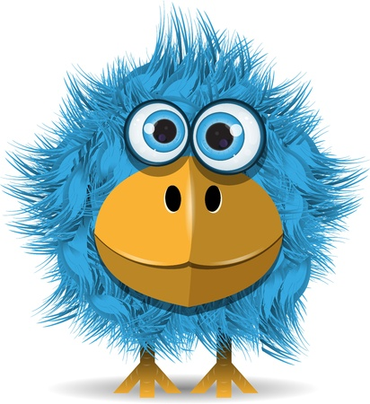 illustration, dr�le d'oiseau bleu avec de grands yeux Illustration