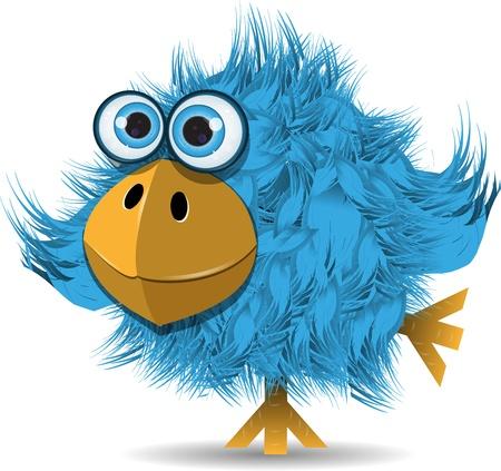 aves caricatura: ilustración, pájaro azul muy divertido con los ojos grandes