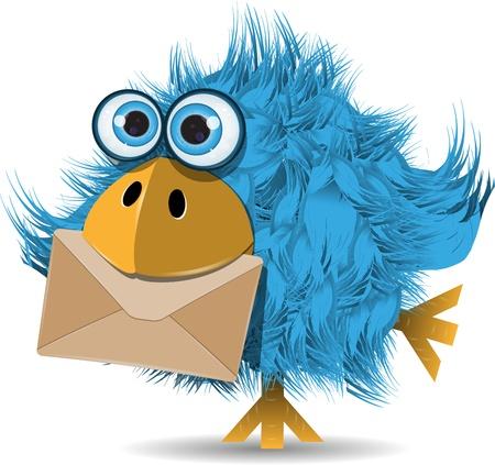 illustration, very funny  blue bird with envelope Illustration