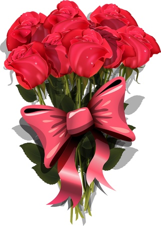 illustration, bouquet of roses with a bow Vector