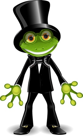 amphibious: illustration frog in a black suit and top hat