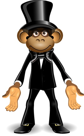top hat cartoon: illustration monkey in a black suit and top hat