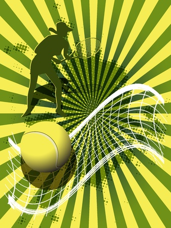 illustration, tennis ball on abstract green background Vector