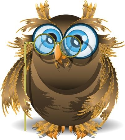 intellect: illustrazione saggio gufo con gli occhi azzurri e bicchieri