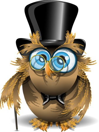 top hat cartoon: illustration wise owl with blue eyes and glasses