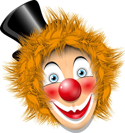 circus artist: illustration redheaded clown face in black hat