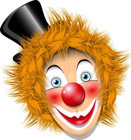 redheaded: illustration redheaded clown face in black hat
