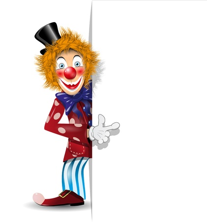 illustration redheaded cheerful clown in black hat Vector