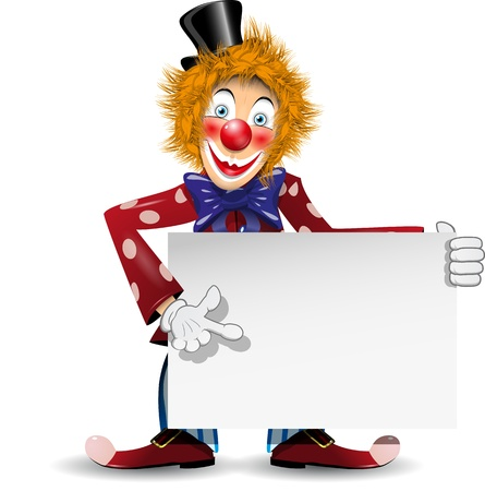 hair bow: illustration redheaded cheerful clown with a white placard Illustration