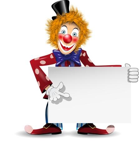 redheaded: ilustraci�n payaso pelirrojo alegre con un cartel blanco